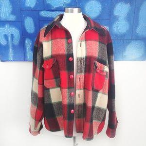 Plaid Woolrich Jacket Vintage Red Black Cream